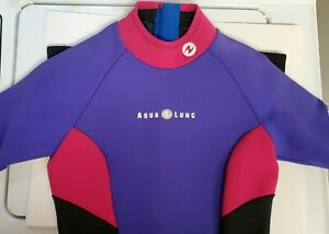 USED 1x AQUA  LUNG Wetsuits Women 3mm Neoprene Scuba Suit Surfing Swimming