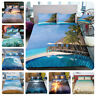 3D Sea Beach Coconut Quilt Cover Bedding Set Pillowcase Ocean Comforter Cover