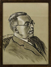 A smart 1930's portrait of a gentleman. Pastel or crayon drawing. Framed English