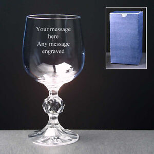 PERSONALISED Engraved Wine Glass 2 Sizes FREE ENGRAVING Any Message engraved NEW