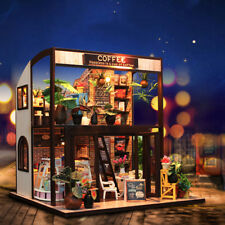 DIY Doll House Time Cafe Handcraft Wooden Miniature Furniture LED Light Gift Toy