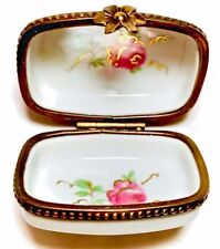 Limoges France French Hand Painted Trinket Box Peint Main Wild Flowers Limoge