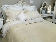 KING SIZE  FINELY STITCHED QUILTED BEDSPREAD 100% COTTON CREAM /  ECRU PATCHWORK
