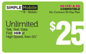 1 MONTH SIMPLE MOBILE $25 PLAN 30 Days  3GB LTE
