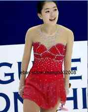 Ice skating dress.Red Competition Figure Skating Dance Baton Twirling Costume