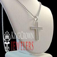 HOT Mini Genuine Silver Simu Diamond Cross Pendant Chain 10K White Gold Finish
