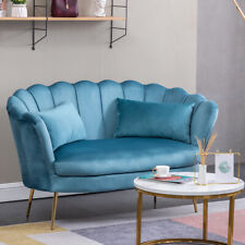 2 Seater Occasional Velvet Love Seat Scallop Sofa Settee Couch Lake Blue+ Pillow