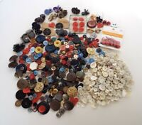 Vintage Button Collection Sold As Found Plastic Metal MOP Ladybugs Cats Hearts