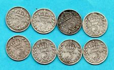 More details for 8 x king edward vii, silver threepence coins 1902 - 1910 (no 1904). 3d job lot.
