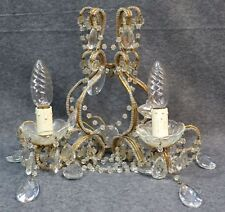 Wandleuchte, Wandlüster, 2 Lampen, Kristallglas, Aufhängung vergoldet