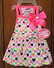 """Glamour to the Bone""""DRESS VARIOUS-COLOR HEARTS"""" w/Pink Trim & Bow Size Small"""