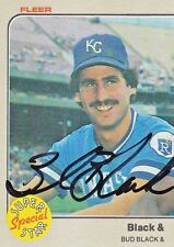 BUD BLACK 1983 signed Fleer #644 autograph Royals Pitcher Super Special Star