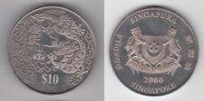 SINGAPORE - CU-NI 10$ UNC COIN 2000 YEAR KM#174 DRAGON