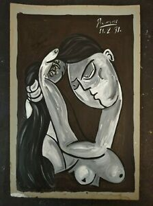 PABLO  PICASSO      Painting beautiful on old paper hand signed.
