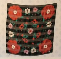 Vintage Bill Blass Red, Pink, White, Green and Black Floral Silk Scarf