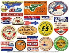 23 AIRLINE LUGGAGE STICKERS, 1 Sheet, Travel Label REPRODUCTIONS, Airplane Art