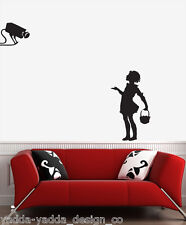 "WALL - Banksy - Camera Girl - Wall Vinyl Decal (20""w x 30""h) (BLACK)"