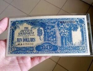 1942 Malaya Japanese Occupation Note $10 with number MA405696 Crispy EF