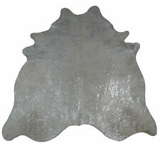 Kuhfell Rinderfell Stierfell Cowhide Devore Hellgrau Silber - 220 cm x 190 cm