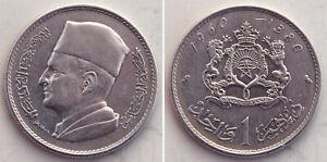 Marokko/Maroc 1 Dirham 1960 Silber Mohammed V.