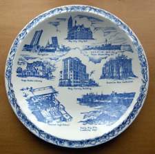 Vernon Kilns collector plate~Bay City Michigan~Ultra Blue-No Reserve