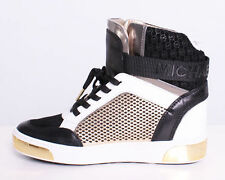 NIB Size 9 Michael Kors Pia High-Top Leather Sneaker Black Gold White SOLD OUT