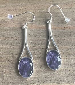 Rare Vintage Style Derbyshire Blue John  Silver Large Stone  Drop Earrings J2557