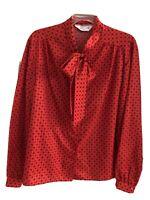 Vtg Women's Red Geometric Dot Print Pussy Bow Secretary Blouse Made In USA M/L
