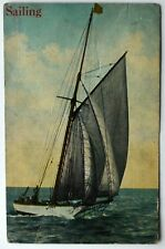 Old postcard Sailing sail ship boat sea ocean nautical antique divided back