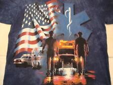 Paramedic Fire Fighter Rescue Health American Hospital Tie Dye Blue T Shirt L