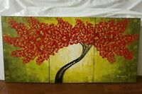 Alexandru Rusu Romania Red Blossom Tree Large Triptych Oil Painting Signed w COA