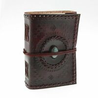 Large Leather Diary Stone Embossed Turquoise Embossed Notebook Organiser Journal