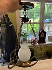 Large Colonial Vintage oil lamp reproduction hanging light fixture