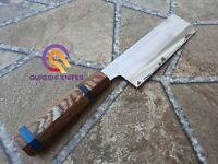 Custom Handmade Stainless Steel Kitchen Knife wood Handle with Sheath