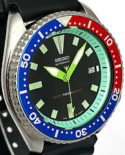 "Vintage watch SEIKO mens diver 7002 ""PEPSI"" mod w/custom MINT GREEN Chapter Ring"