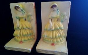 vintage Plaster chalk ware yellow Crinoline Lady bookends statue book ends 391