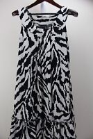 En Focus Studio Polyester Blend Stretch Black & Ivory Ruffled Hem Dress Size 14