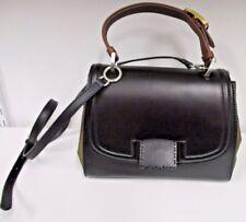 "FENDI Black Leather & Penguin Striped  ""Salvana"" Satchel Bag w/ Removable Strap"
