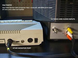 6' Atari Shielded Video TV Cable (Composite Video + Audio) 800/800XL/1200XL/XE