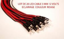 Jouef Lima Roco Lot de 20 Led Rouge 3mm 12 Volts Cables Trains Ho  1/87
