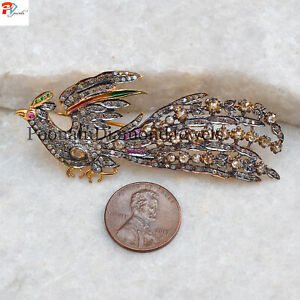Rose Cut Polki Pave Tamboli Diamond 925 Solid Silver Gold Plated Peacock Brooch