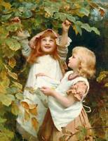 Girls picking fruit from a tree by Frederick Morgan