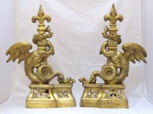 OMG Gothic Antique Bronze Pair Andirons 1880 Fire Dogs Fireplace Chimera Griffin