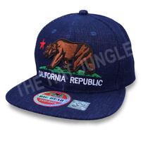 California Republic Cali Bear Snapback Hat Adjustable Flat Bill Baseball Cap