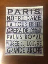 "TIN SIGN ""Paris Landmarks"" France French Vintage Decor Mancave Bar Gift Lovers"