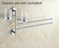 Brand New Towel Rack Bathroom Toothbrush Cup Holder Rotating Shelf Racks
