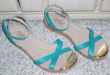MALU Super Comfort Ankle Strap Cork Heel Sandals~Teal Aqua~Made Brazil~Size 8