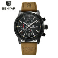 Mineral Glass Date Men Analog Wrist Watch Calender Genuine Leather Band  Quartz