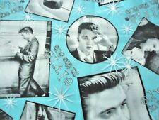 """ELVIS Presley  Photo's 1950's Aqua And Black 18"""" x 22""""  Fat Quarter  New"""