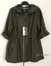 LADIES KHAKI GREEN PARKA IN A POCKET Pac A Mac Rain Coat Jacket Primark UK 6-20